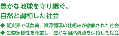 A society in harmony with nature, preserving the planet's abundance
