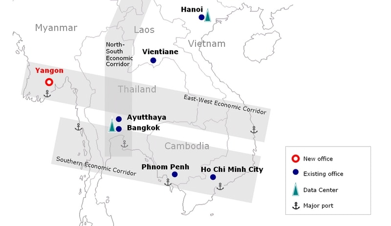 Map: NTT Communications group's business expansion in Greater Mekong Subregion